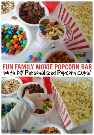 A Fun Family Movie Night Popcorn Bar with DIY Personalized Popcorn Cups + An APP to Make Your Popcorn PERFECT! #sponsored #PerfectPop #GoodbyeBurnedPopcorn at B-InspiredMama