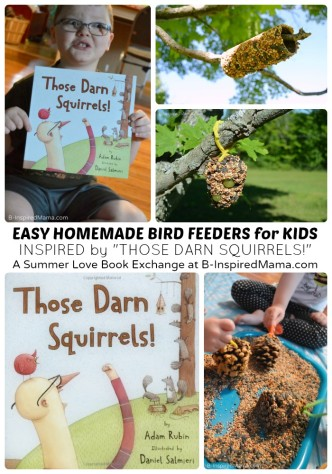 "Easy Homemade Bird Feeders for Kids - Inspired by the Children's Book ""Those Darn Squirrels!"" at B-Inspired Mama"