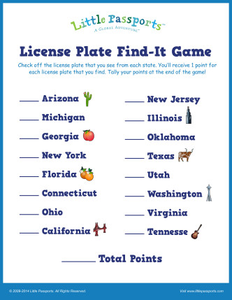 Printable License Plate Game from Little Passports and B-Inspired Mama