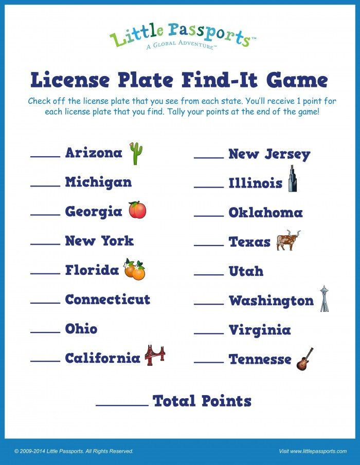 graphic regarding License Plate Game Printable known as Printable License Plate Video game for Small children - towards Deliver Relatives Highway