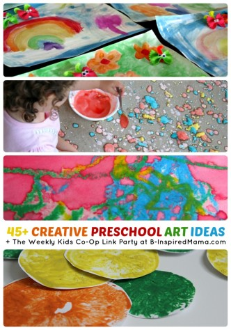 Over 45 Creative Preschool Art Ideas + The Weekly Kids Co-Op Link Party at B-Inspired Mama