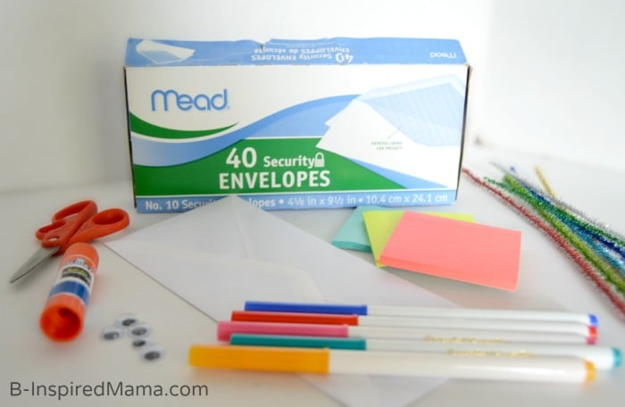 Supplies for Our Muppet Inspired Envelope Puppet Craft - #sponsored #MuppetsMostWanted - B-Inspired Mama