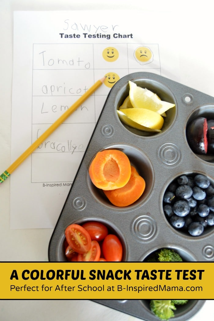 A Healthy and Colorful Snack Taste Test Activity using a Kid-Friendly Printable Taste Testing Sheet