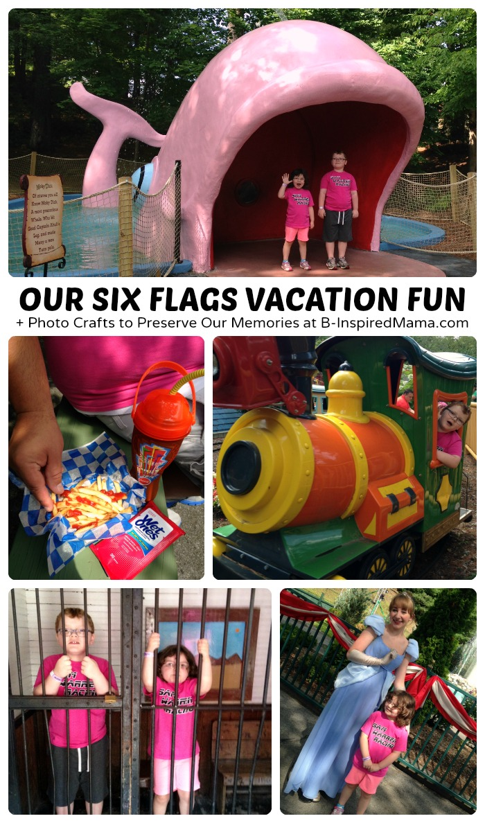 Our Six Flags Vacation Fun + Creative Photo Crafts to Preserve Vacation Memories at B-Inspired Mama