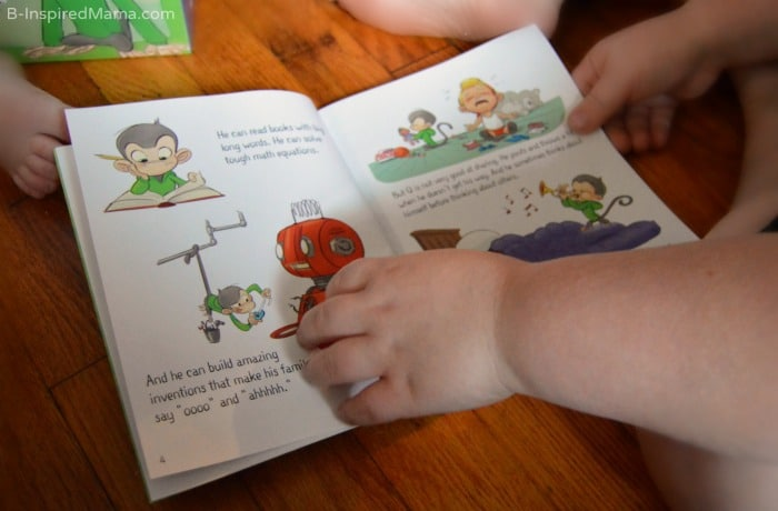 Reading Our Q Storybook - Making Emotional Intelligence Practice Fun at B-Inspired Mama #ad #PMedia #QsRaceToTheTop