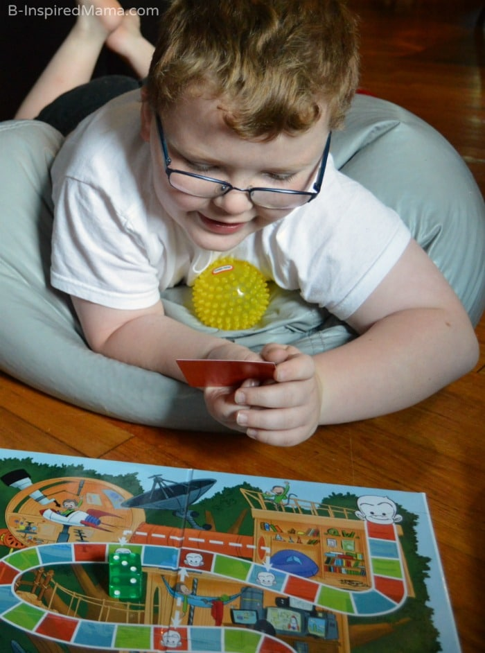 Reading a Fun Challenge Card - Making Emotional Intelligence Practice Fun at B-Inspired Mama #ad #PMedia #QsRaceToTheTop