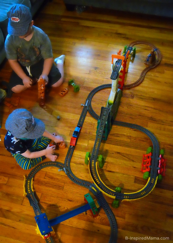 Brothers Playing with Thomas the Trackmaster  + Thomas Inspired Train Crafts and Activities at B-Inspired Mama