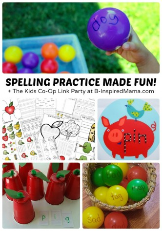 Fun Spelling Activities for Kids + The Weekly Kids Co-Op Link Party at B-Inspired Mama