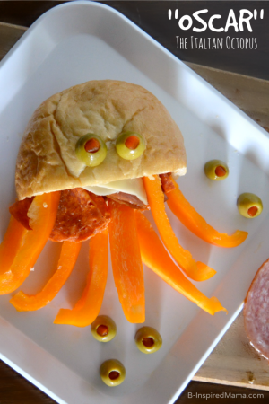 Oscar the Italian Octopus Sandwich - A Kids in the Kitchen Recipe [#sponsored by @OscarMayer #OldWorldStyleOM] at B-Inspired Mama