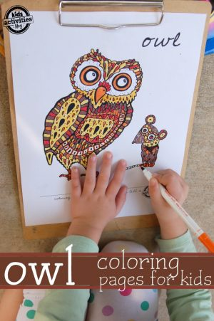 Owl Coloring Pages + More Autumn Animal Activities and Crafts for Kids + The Kids Co-Op Link Party at B-Inspired Mama