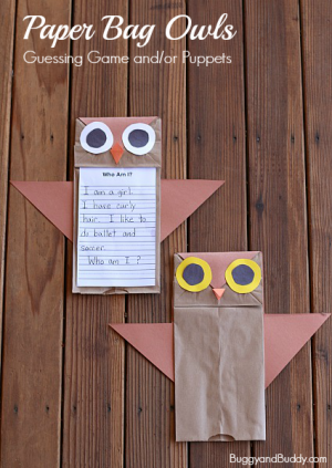 Owl Puppets + More Autumn Animal Activities and Crafts for Kids + The Kids Co-Op Link Party at B-Inspired Mama