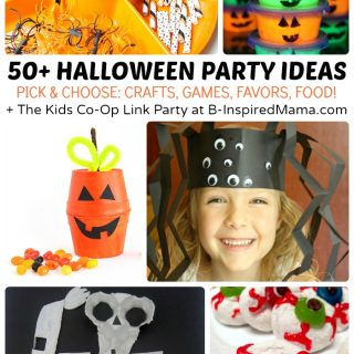 50+ Kids Halloween Party Ideas - Halloween Crafts, Activities, Games, Favors, and Food + The Kids Co-Op Link Party at B-Inspired Mama