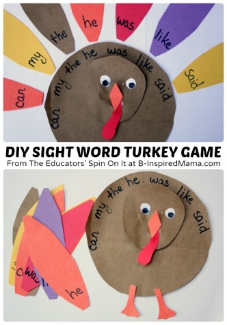 A Clever DIY Sight Word Turkey Game at B-Inspired Mama