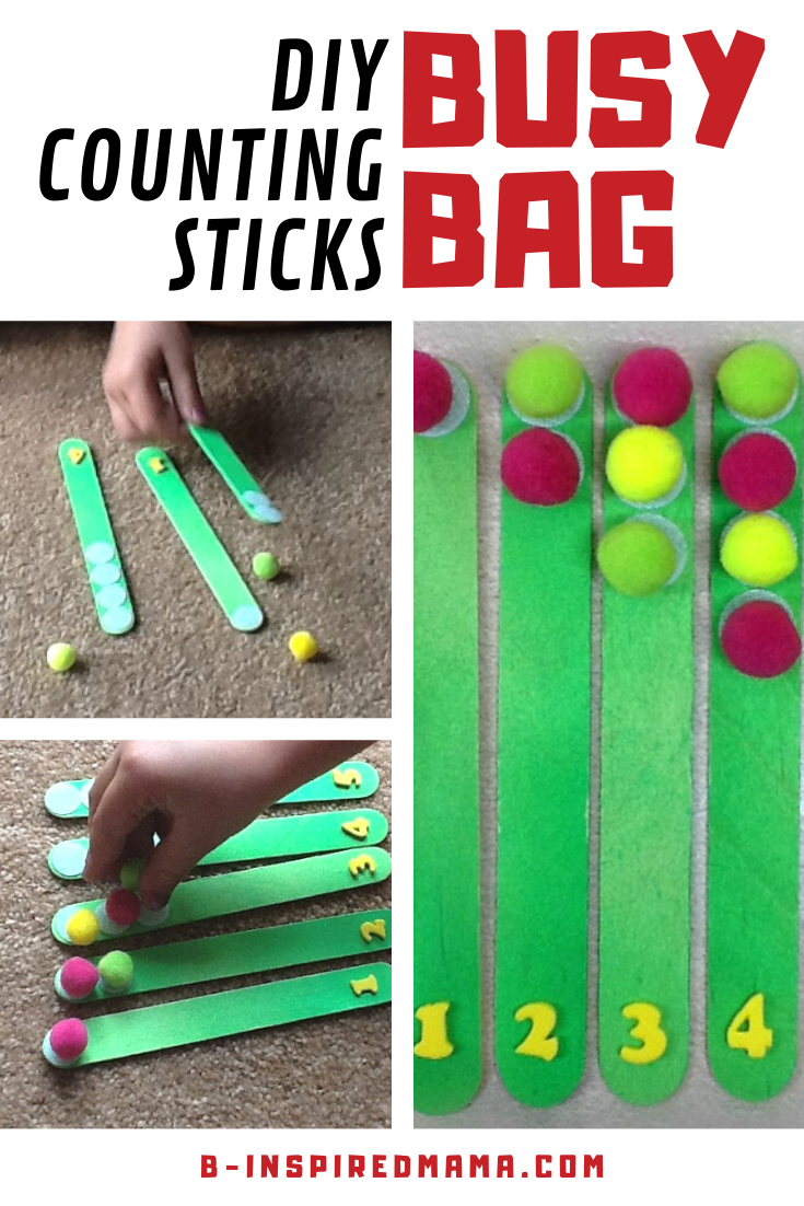 Simple DIY Counting Sticks Busy Bag for Learning Numbers and Counting!