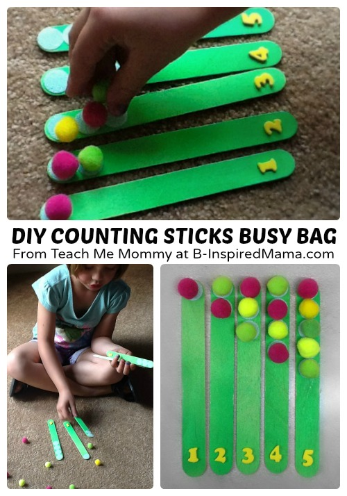 DIY Counting Sticks Busy Bag for Preschoolers