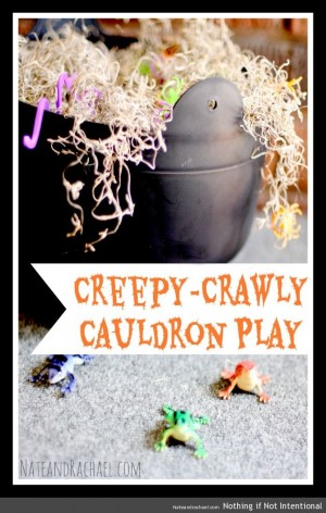 Creepy Crawly Cauldron Activity + 50+ Kids Halloween Party Ideas at B-Inspired Mama