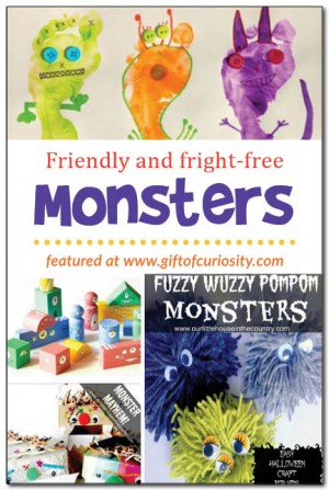 Monster Crafts + 50+ Kids Halloween Party Ideas - Halloween Crafts, Activities, Games, Favors, and Food + The Kids Co-Op Link Party at B-Inspired Mama