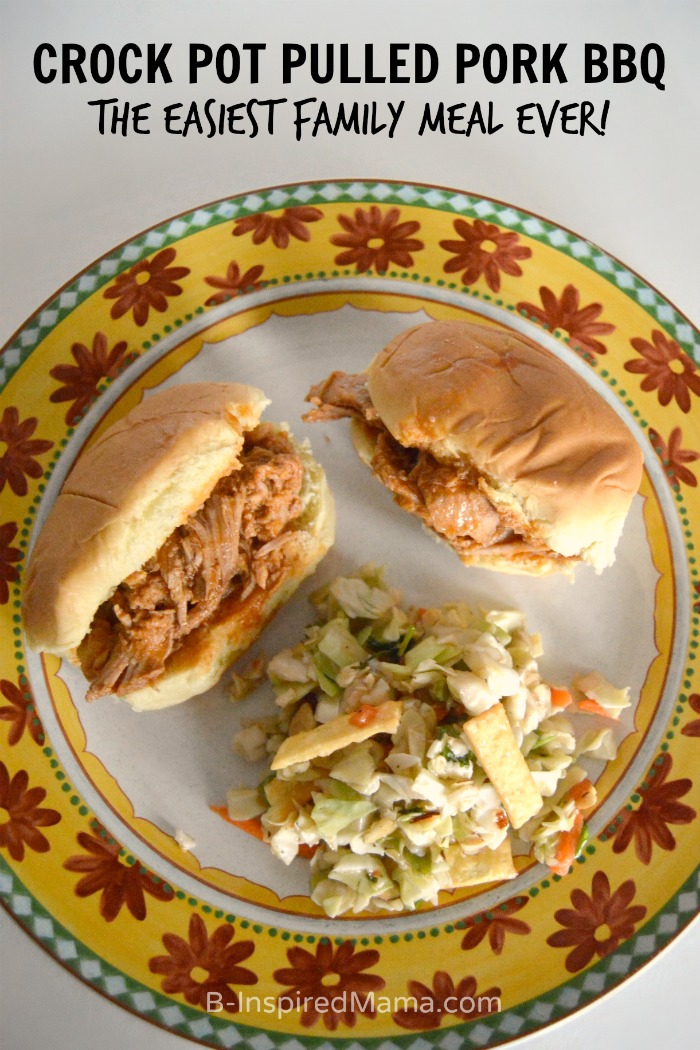 The Easiest Family Meal Ever - Crock Pot Pulled Pork BBQ [#ad #PutPorkontheMenu #PMedia] at B-Inspired Mama