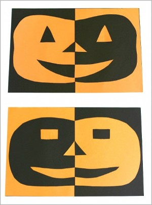 Positive & Negative Pumpkin Craft + 50+ Kids Halloween Party Ideas - Halloween Crafts, Activities, Games, Favors, and Food + The Kids Co-Op Link Party at B-Inspired Mama