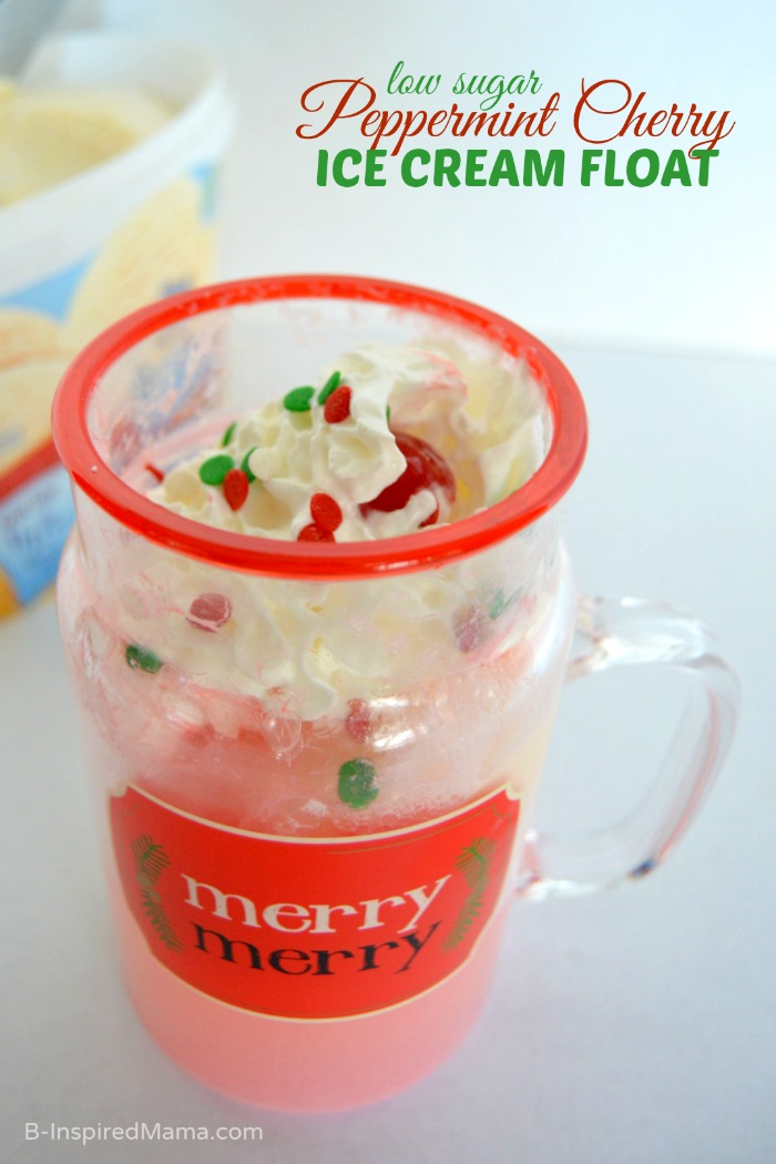 Low Sugar Peppermint Cherry Ice Cream Float Perfect for Christmas at B-Inspired Mama #Sponsored #MySweetFreedom