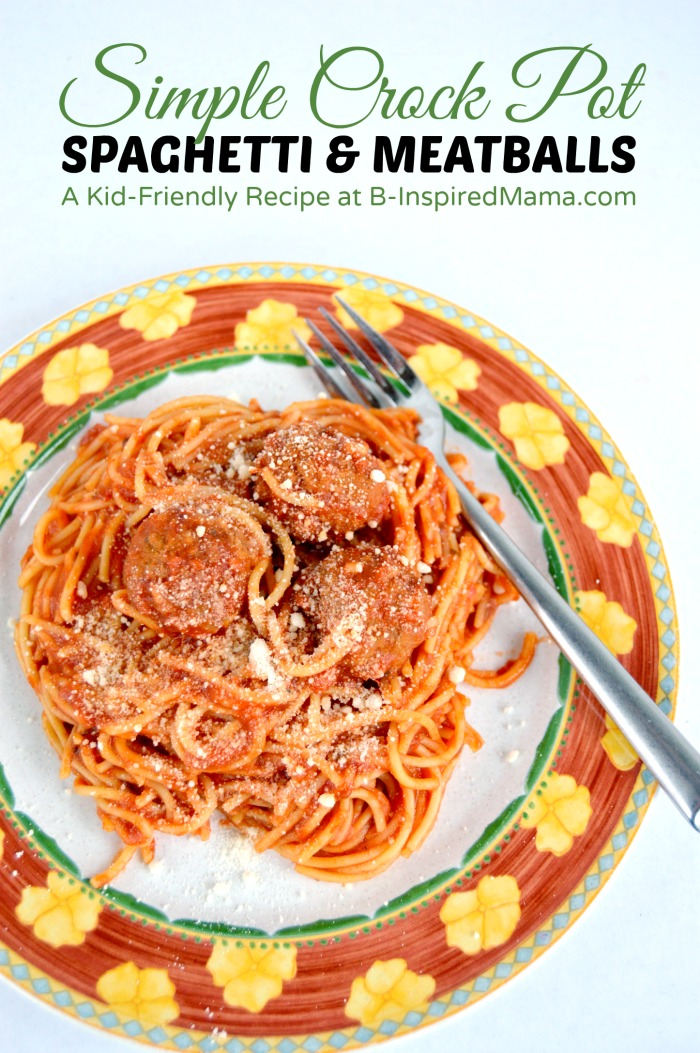 Simple Crock Pot Spaghetti and Meatballs at B-Inspired Mama #AD #CansGetYouCooking