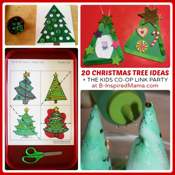 20 Cute Christmas Tree Christmas Activities for Kids + The Kids Co-Op Link Party at B-Inspired Mama