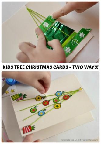 A Christmas Tree Homemade Christmas Card Craft for Kids - Two Ways - at B-Inspired Mama