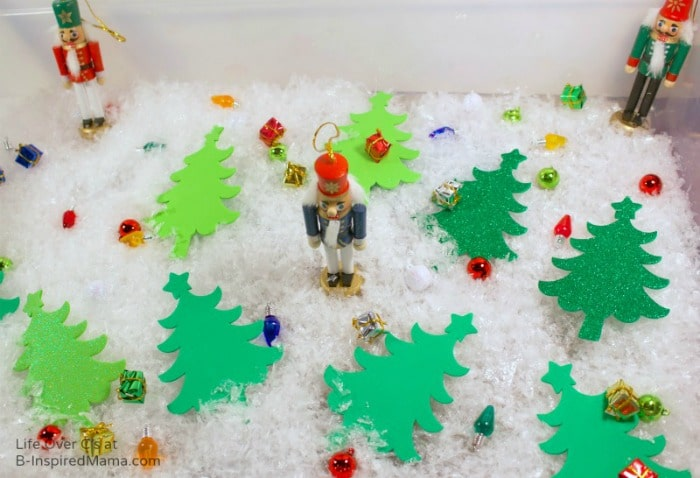 A Sensory Bin for Some Nutcracker Christmas Sensory Play at B-Inspired Mama