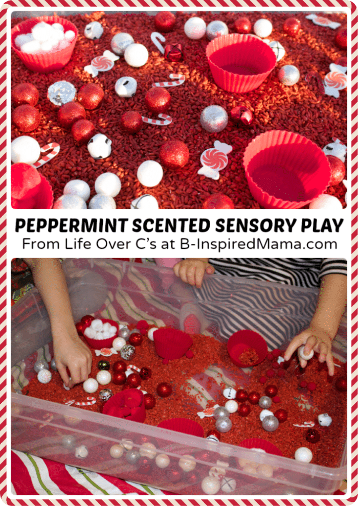 Christmas Sensory Play with a Peppermint Scented Sensory Bin at B-Inspired Mama