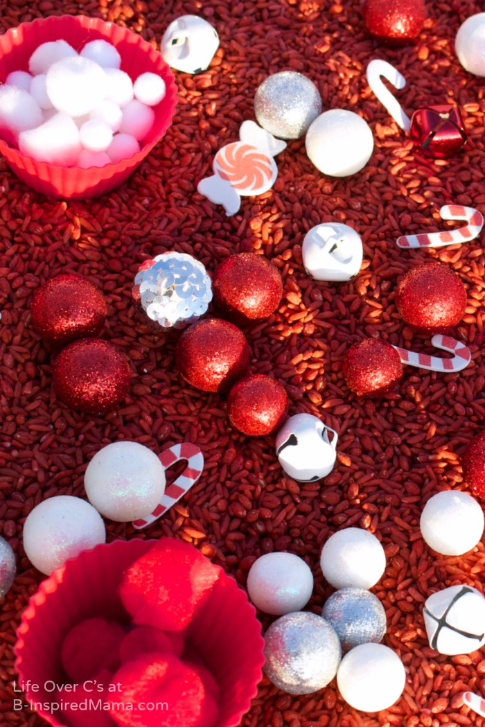 Christmas Themed Sensory Play for Kids with a Peppermint Scented Sensory Bin at B-Inspired Mama