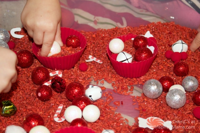 Holiday Sensory Play for Kids with a Peppermint Scented Sensory Bin at B-Inspired Mama