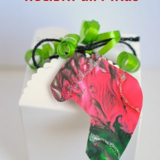 Jingle Bell Painted Holiday Gift Tag Art Project for Kids at B-Inspired Mama