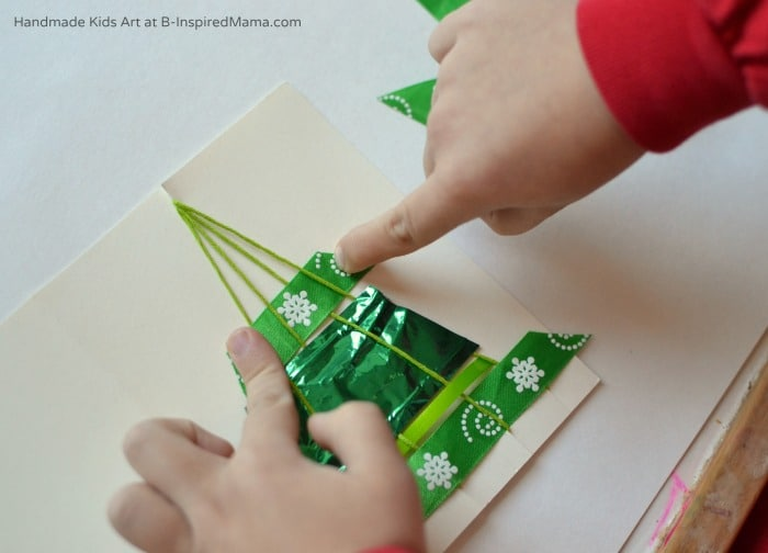 Making our Woven Ribbon Tree Homemade Christmas Card Craft at B-Inspired Mama