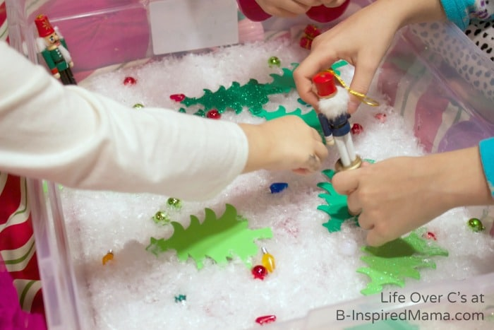Playing - Nutcracker Christmas Sensory Play