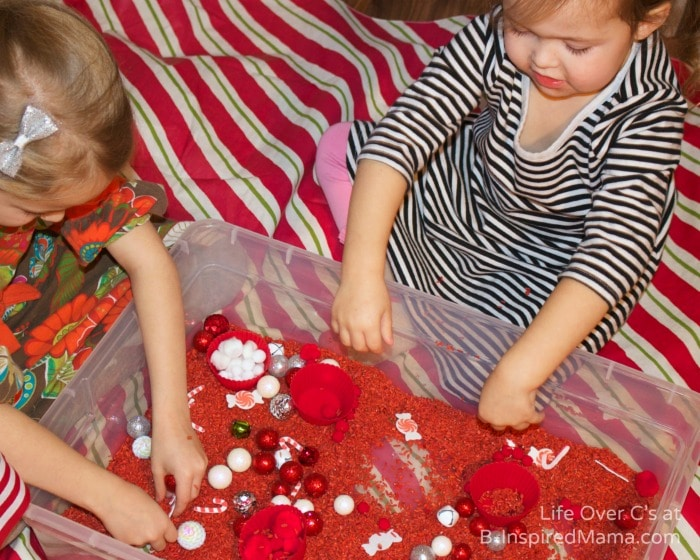 Sensory Play for Kids with a Peppermint Scented Sensory Bin at B-Inspired Mama