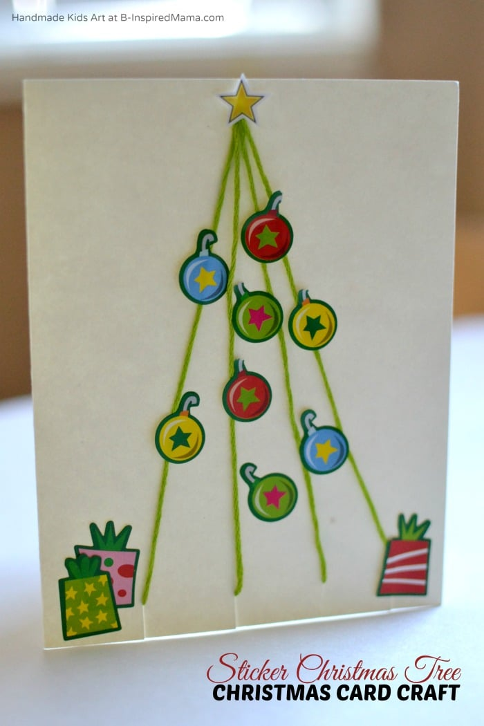 Simple Sticker Christmas Tree Homemade Christmas Card Craft for Kids at B-Inspired Mama