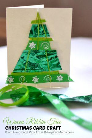 Woven Ribbon Tree Homemade Christmas Card Craft at B-Inspired Mama