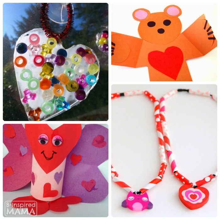 20 Cute Valentine Crafts + The Weekly Kids Co-Op Link Party at B-Inspired Mama