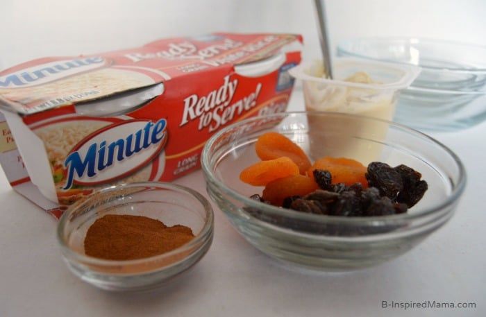 Kids in the Kitchen - One Minute Warm Rice Pudding Ingredients at B-Inspired Mama