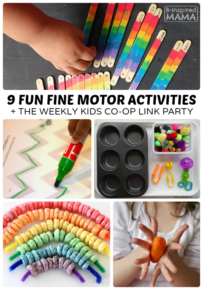fun fine motor activities the kids co op link party b inspired mama. Black Bedroom Furniture Sets. Home Design Ideas