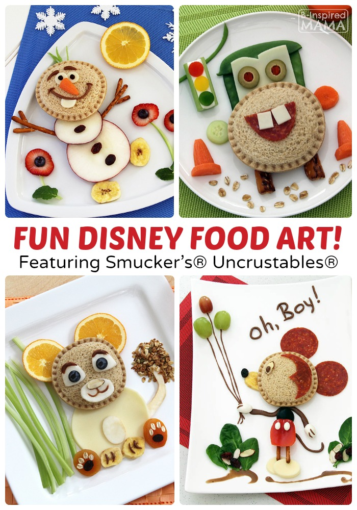Kids in the Kitchen Fun - Creative Disney Food Art Featuring Smucker's Uncrustables at B-Inspired Mama