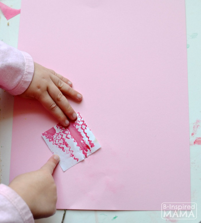How to Make Stickers with Kids Art - Sticking Shapes - at B-Inspired Mama