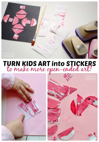 How to Make Stickers with Kids Art - at B-Inspired Mama