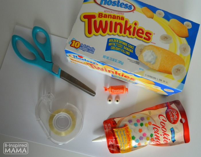 Ingredients and Supplies - Hatching Chick Easter Treats using Twinkies at B-Inspired Mama