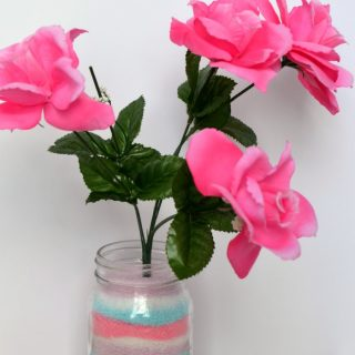 A Colored Salt Art Centerpiece Mother's Day Craft at B-Inspired Mama