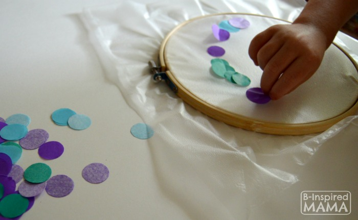 A Simple Circles Suncatcher Summer Craft - Placing the Circles - B-Inspired Mama