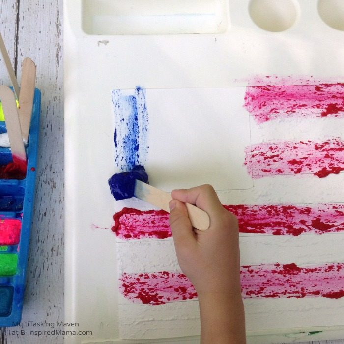An Ice Paint American Flag Craft - Painting with Ice Paint - B-Inspired Mama