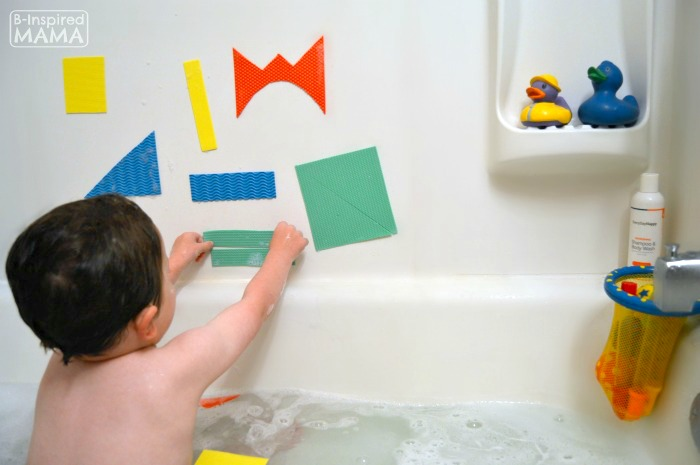 Making Abstract Art with DIY Kids Bath Shapes - at B-Inspired Mama