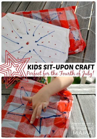 Patriotic Sit-Upon Kids Craft - Perfect for Watching Fireworks on the 4th of July - B-Inspired Mama