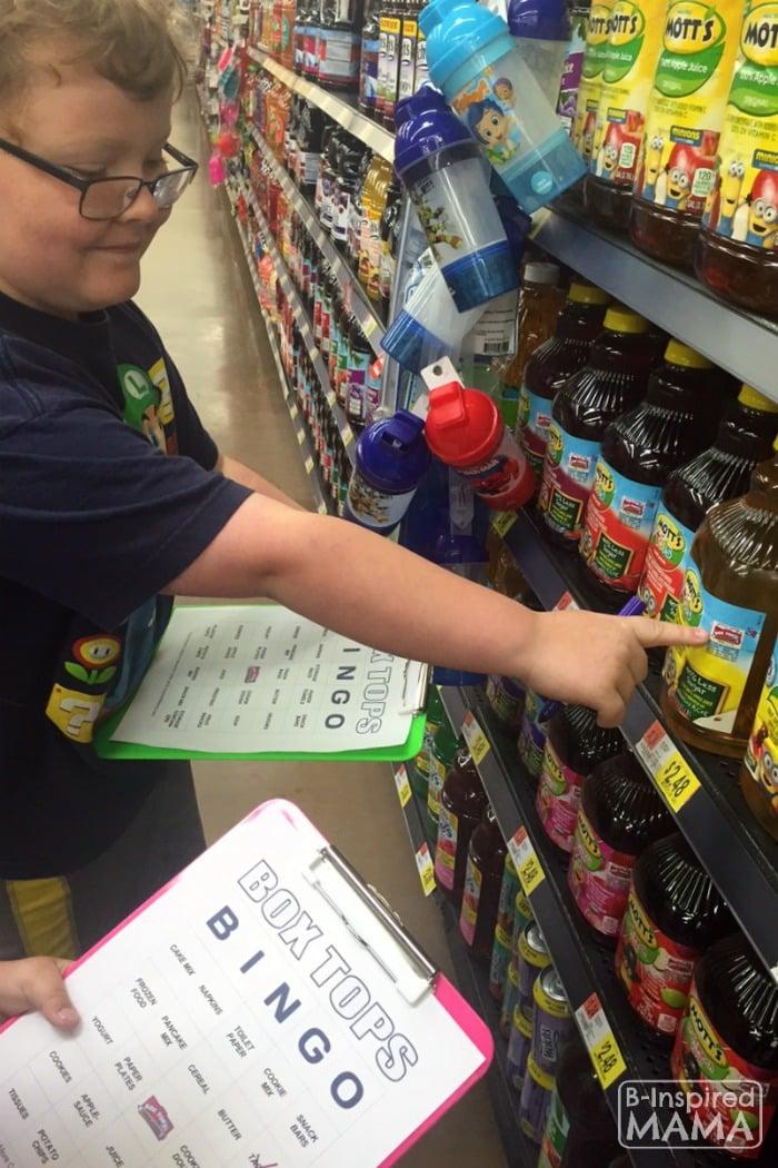 Box Tops Bingo Grocery Shopping Game - Finding Box Tops - at B-Inspired Mama